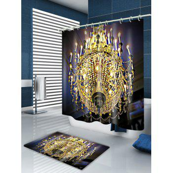 Chandeliers Print Fabric Waterproof Shower Curtain - GOLDEN W59 INCH * L71 INCH