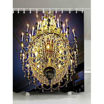 Chandeliers Print Fabric Waterproof Shower Curtain - GOLDEN W71 INCH * L71 INCH