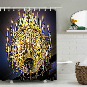 Chandeliers Print Fabric Waterproof Shower Curtain - GOLDEN W71 INCH * L79 INCH