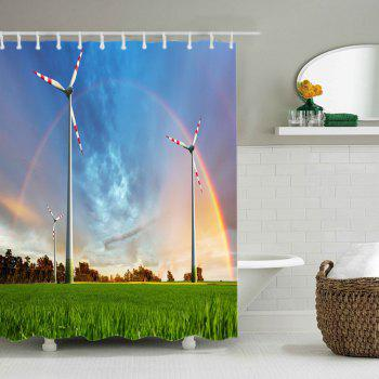 Grasslands Windmill Rainbow Print Fabric Waterproof Shower Curtain - W71 INCH * L71 INCH W71 INCH * L71 INCH