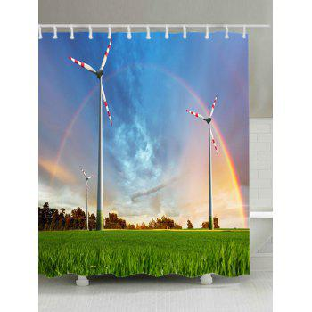 Grasslands Windmill Rainbow Print Fabric Waterproof Shower Curtain - BLUE W71 INCH * L71 INCH