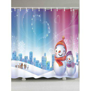 Snowman Christmas Snowscape Waterproof Shower Curtain - COLORMIX W59 INCH * L71 INCH