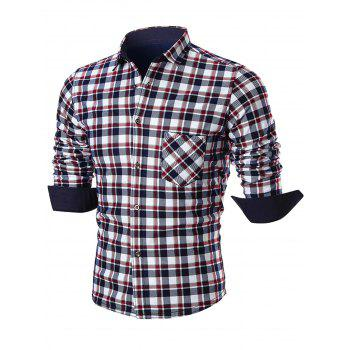 Turn Down Collar Pocket Plaid Shirt - RED RED