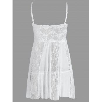 Lace Slip See Through Babydoll - WHITE M