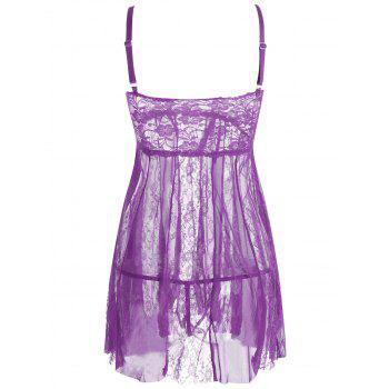 Lace Slip See Through Babydoll - PURPLE M