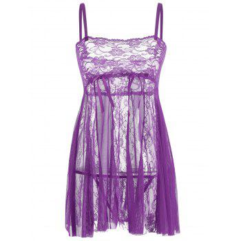 Lace Slip See Through Babydoll - PURPLE S