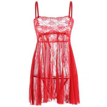 Lace Slip See Through Babydoll - RED 2XL