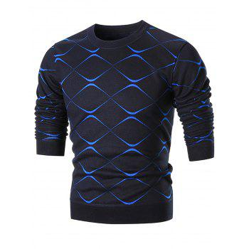 Two Tone Crewneck Pullover Sweater - BLUE 3XL