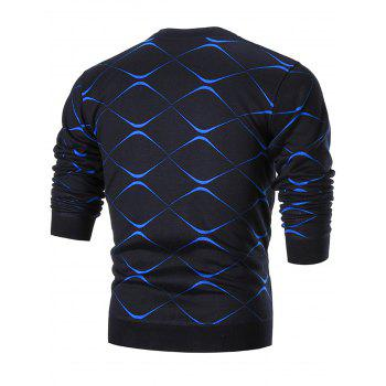 Two Tone Crewneck Pullover Sweater - BLUE BLUE