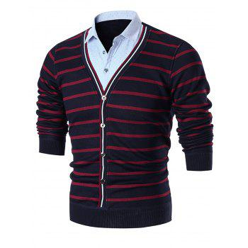False Two Piece Stripe Cardigan - RED RED