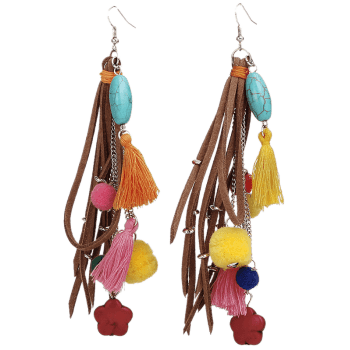 Fake Turquoise Colorful Tassel Balls Earrings -  COLORFUL