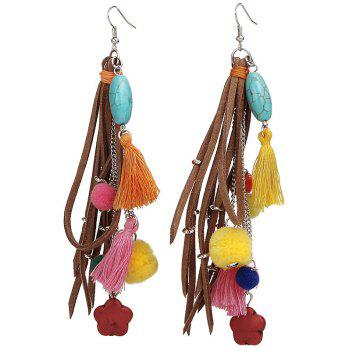 Fake Turquoise Colorful Tassel Balls Earrings - COLORFUL COLORFUL