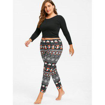Plus Size Cute Christmas Printed Slim Pants - XL XL