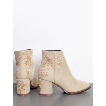 Embroidery Stars Moon Ankle Boots - APRICOT 37/6.5