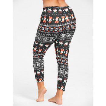 Plus Size Cute Christmas Printed Slim Pants - 3XL 3XL