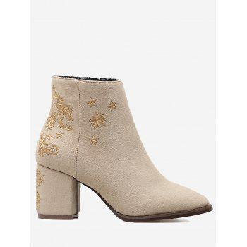 Embroidery Stars Moon Ankle Boots - APRICOT 35/5.5