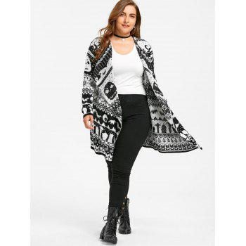 Halloween Skull Plus Size Drape Sweater Cardigan - 4XL 4XL