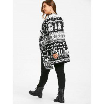 Halloween Skull Plus Size Drape Sweater Cardigan - BLACK WHITE 3XL