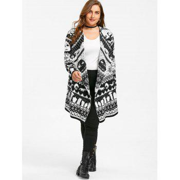 Halloween Skull Plus Size Drape Sweater Cardigan - 2XL 2XL