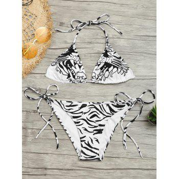 Zebra Print Halter Tied Bikini Set - WHITE AND BLACK XL