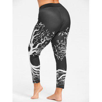 Plus Size Tree Printed Gym Leggings - BLACK XL