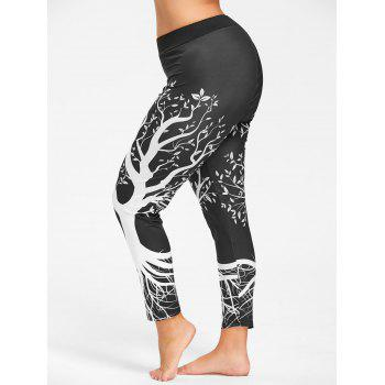 Plus Size Tree Printed Gym Leggings