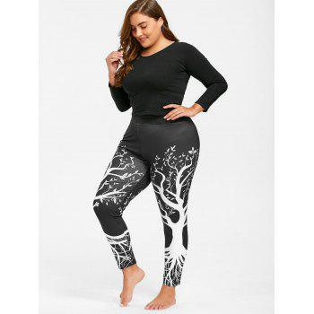 Plus Size Tree Printed Gym Leggings - BLACK 4XL