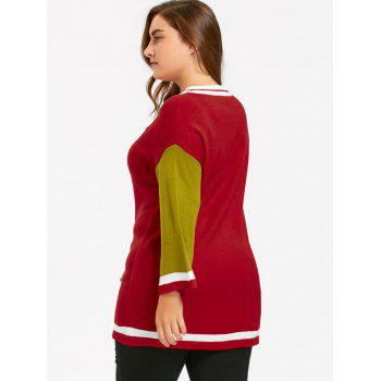 Plus Size Long Color Block  Sweater - RED 5XL