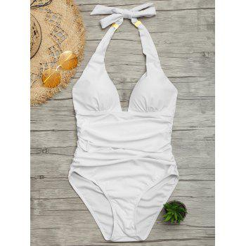 One Piece Ruched Halter Swimsuit - WHITE S