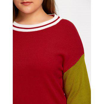 Plus Size Long Color Block  Sweater - RED 3XL