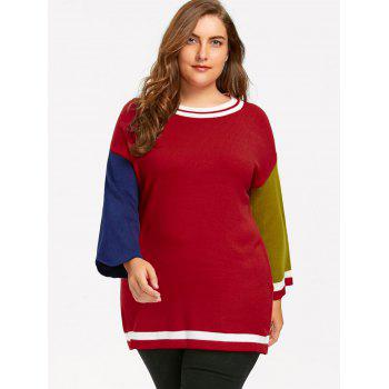 Plus Size Long Color Block  Sweater - RED 2XL
