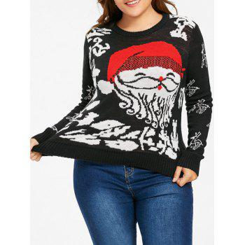 Christmas Santa Claus Plus Size Sweater - BLACK 4XL