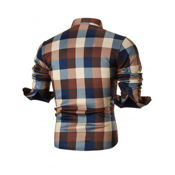Fleece-lined Chest Pocket Checkered Shirt - COFFEE 3XL
