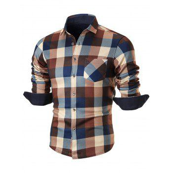 Fleece-lined Chest Pocket Checkered Shirt - COFFEE 4XL