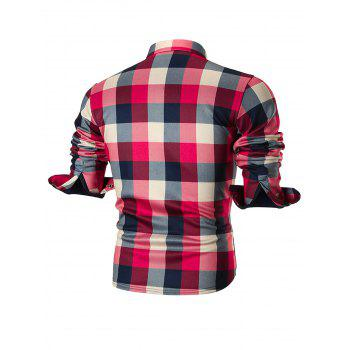 Fleece-lined Chest Pocket Checkered Shirt - RED 3XL