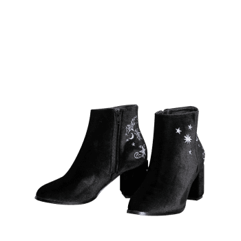 Embroidery Stars Moon Ankle Boots - 39/7.5 39/7.5