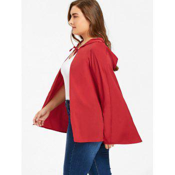 Plus Size Hooded Cape - RED XL