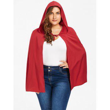 Plus Size Hooded Cape - RED 2XL