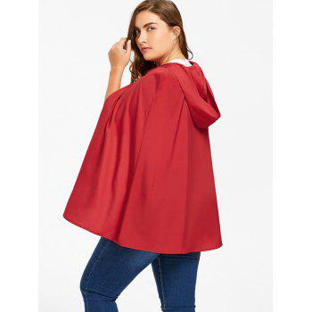 Plus Size Hooded Cape - RED RED