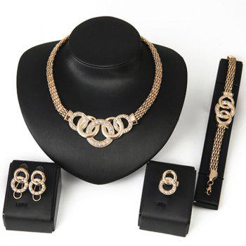 Rhinestone Annulus Decorated Necklace Bracelet Ring and Earrings Set - GOLDEN GOLDEN