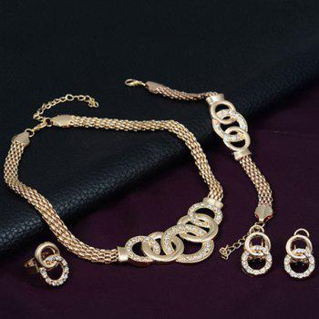 Rhinestone Annulus Decorated Necklace Bracelet Ring and Earrings Set - GOLDEN
