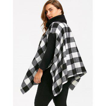 Plus Size Turtleneck Plaid Poncho Coat - 5XL 5XL