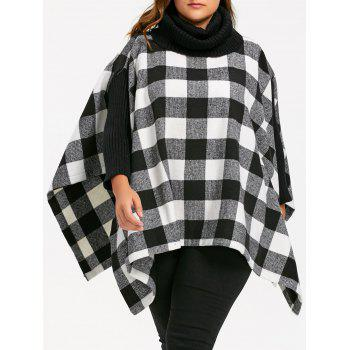 Plus Size Turtleneck Plaid Poncho Coat - BLACK WHITE 5XL