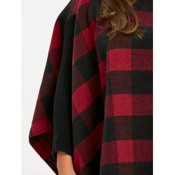 Plus Size Turtleneck Plaid Poncho Coat - RED RED