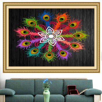 Multifunction Peacock Feathers Flowers Printed Wall Art Painting - COLORFUL COLORFUL