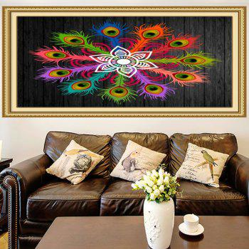 Multifunction Peacock Feathers Flowers Printed Wall Art Painting - COLORFUL 1PC:24*47 INCH( NO FRAME )