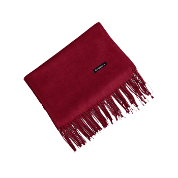 Vintage Faux Cashmere Blanket Scarf with Fringed Edge - WINE RED