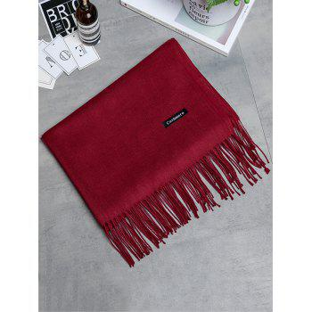 Vintage Faux Cashmere Blanket Scarf with Fringed Edge - WINE RED WINE RED