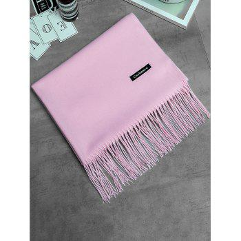 Vintage Faux Cashmere Blanket Scarf with Fringed Edge - PINK PINK