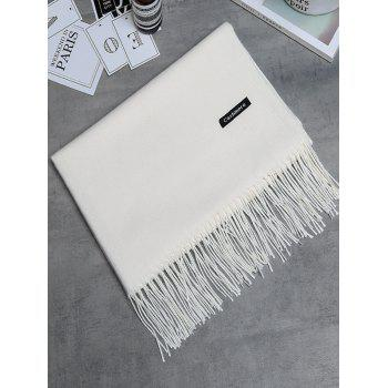 Vintage Faux Cashmere Blanket Scarf with Fringed Edge - CRYSTAL CREAM CRYSTAL CREAM